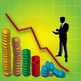 graphline and bar graph of coins, business man silhouette
