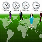 silhouettes of business people at different locations