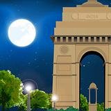 india gate, new delhi, india, moonlight, travel