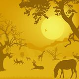 silhouette of wildlife, animals, trees, sun