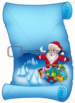 Blue parchment with Santa Claus 6