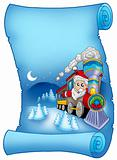 Blue parchment with Santa in train