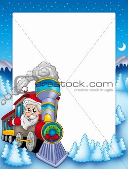 Frame with Santa Claus and train