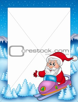 Frame with Santa Claus on scooter