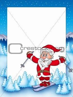 Frame with skiing Santa Claus