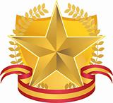 Gold Star with Wreath and Shield