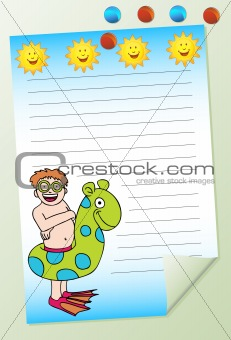 Boy Swimming Notepad