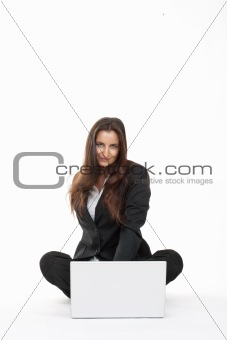 attractive young businesswoman working with laptop computer