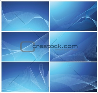 Abstract vector blue background set