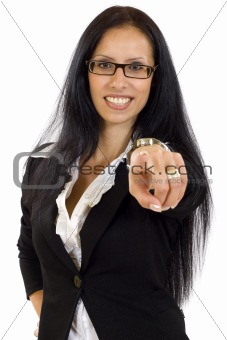 business on a white background pointing
