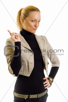 beautiful blond woman pointing