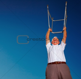 Success symbol - Senior man showing victory