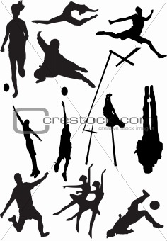 silhouette view of human motifs, sports, positions