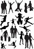 silhouette view of human motifs, expressions, positions