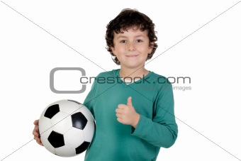 Adorable saying OK with a soccer ball
