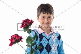 Boy offering flowers
