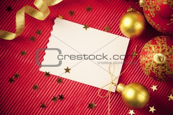 Christmas cards / with copy space / red and gold