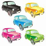 fully editable vector isolated funny colored cars with details