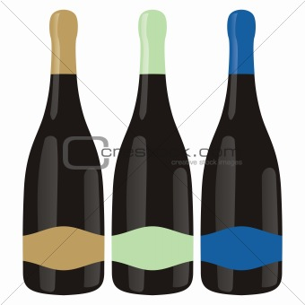 fully editable vector isolated champagne bottles set  ready to use