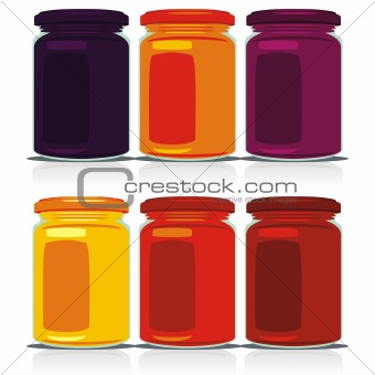fully editable vector isolated jam jars set ready to use