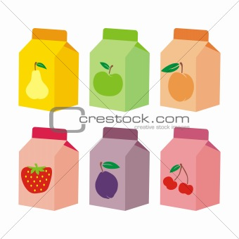 fully editable vector illustration of isolated juice carton boxes ready to use