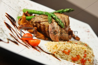 grilled meat with rice