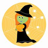Cartoon cute little witch with pumpkin