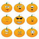 Set of nine cartoon pumpkins