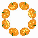 Jack-o-Lanterns frame on white background