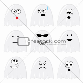 Set of nine cartoon ghosts