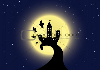 Old castle on the moon background with bats flying around
