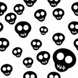 Seamless pattern with black skulls on white background