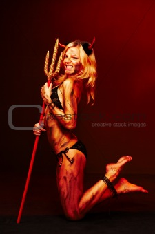 Beautiful devil with trident, Halloween