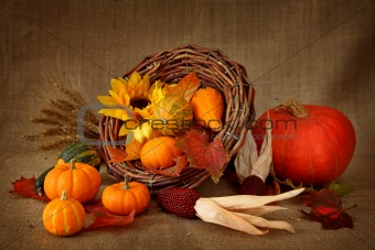 Cornucopia with pumpkins