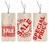 Set of  sale crumpled paper tags