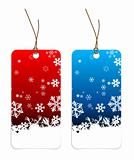 Christmas tags with snowflakes