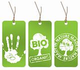 Set of three green tags for organic