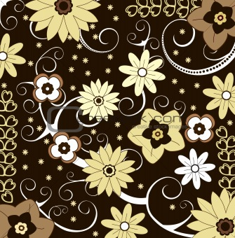 Floral pattern with swirls