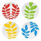 fully editable vector illustration of isolated four colored plates set ready to use