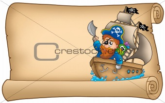 Old parchment with pirate sailing on ship