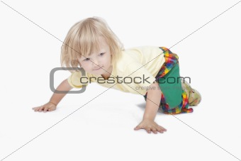 boy crawling on the floor