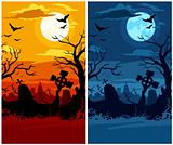 terrible halloween cemetery with moon night and sunset