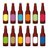 fully editable vector illustration of isolated beer bottles set ready to use