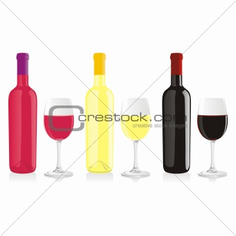 fully editable vector illustration of isolated wine bottle and glass