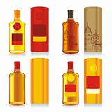 fully editable vector illustration of isolated whiskey bottles and boxes