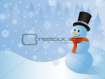 Christmas background with a snowman.