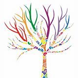 vector illustration of a tree with colored patterns