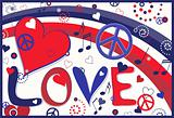 Love Peace and Hearts in Red White and Blue
