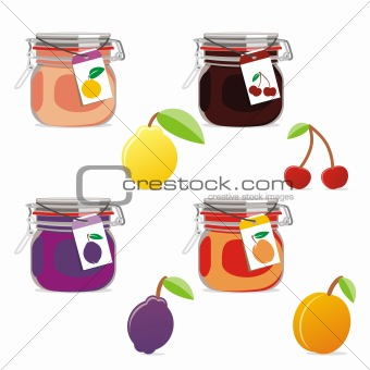 fully editable vector isolated jam jars and fruits set ready to use