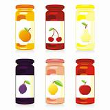 fully editable vector illustration of isolated jam jars set
